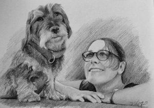 Zeichnung eines Hundes mit Frau
